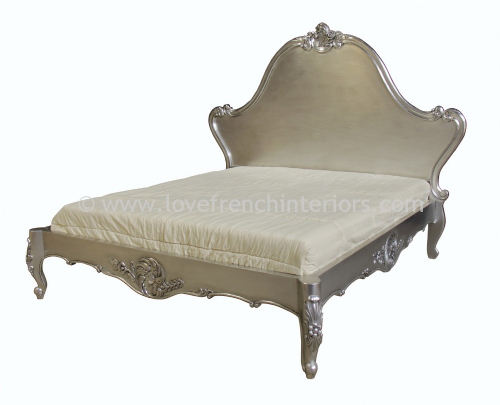 Louis Carved Bed in Silver Leaf